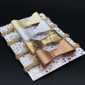 Metallic Hair Bow Set Gold Silver and Copper